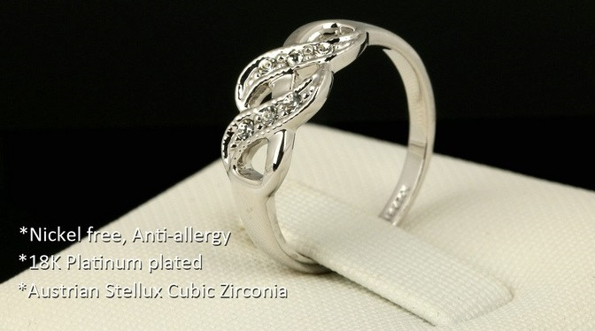 CZ Diamond and 18K Gold Plated Ring