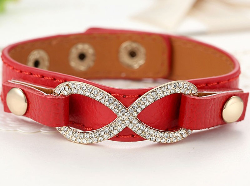 Real red Leather Infinity Bracelets