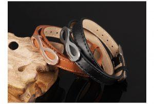 Leather Infinity Design Charm Bracelet