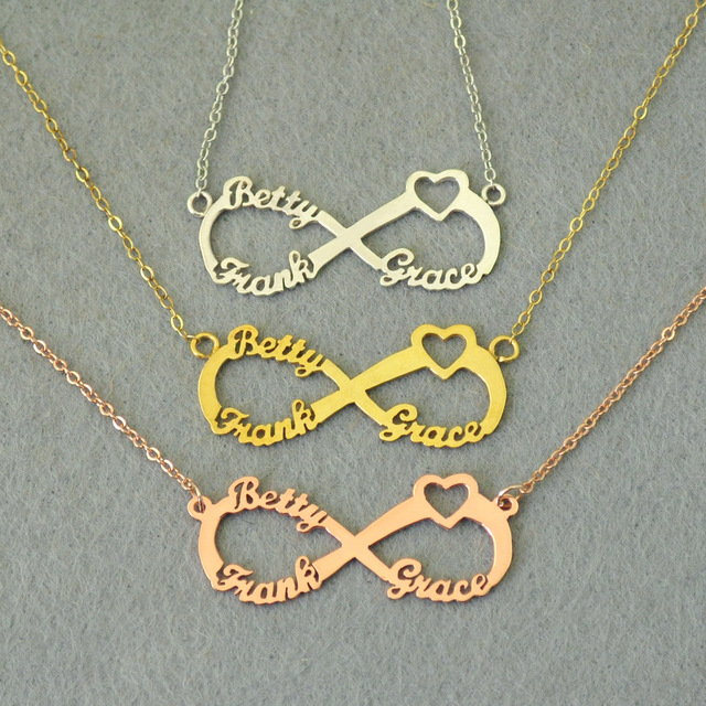 Personalized 3 Names Heart Infinity Necklace